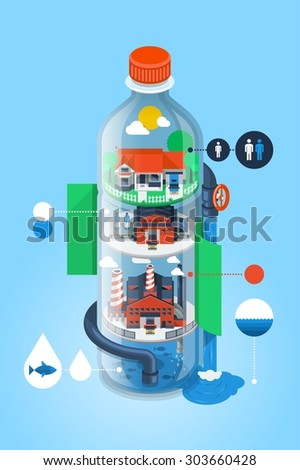 water bottle illustration with factory infographic - stock vector