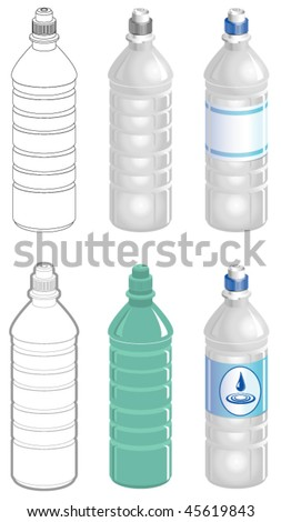 Water bottle in different styles - stock vector
