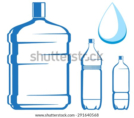 water bottles. vector illustration - stock vector