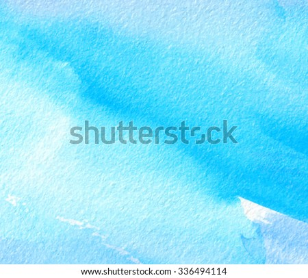 Water brush painting stylized artistic card. Watercolor hand drawn blue paper texture vector background. Abstract wet illustration for design, wallpaper, print, decoration, template, cover, banner - stock vector