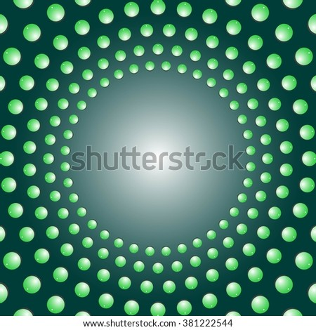 Water bubbles. Water drops on glass.  Green Light Abstract  background geometrical ornament pattern with water drops. For greeting card, presentation, card, flyer.  Vector illustration. - stock vector