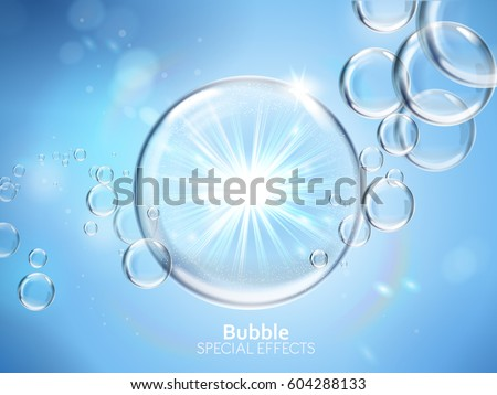 water bubbles with shining light, isolated light blue background, 3d illustration