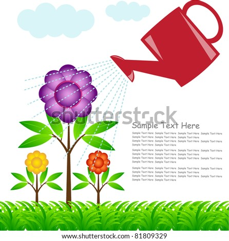 water-can showering water on colorful flowers  - stock vector