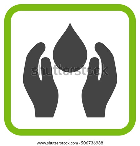 Water Care eco green and gray vector icon. Image style is a flat pictogram symbol in a rounded square frame on a white background.