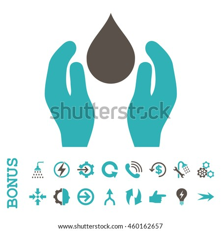 Water Care vector bicolor icon. Image style is a flat pictogram symbol, grey and cyan colors, white background.