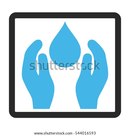 Water Care vector icon. Image style is a flat bicolor icon symbol in a rounded rectangle, blue and gray colors, white background.