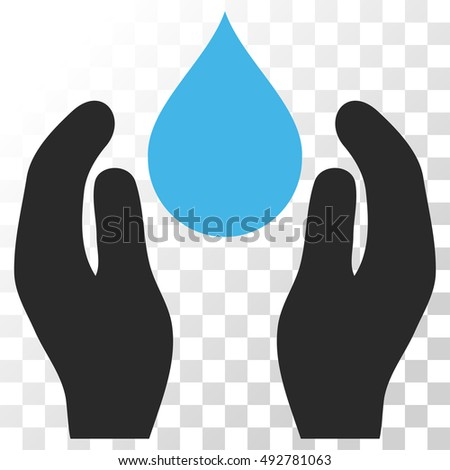 Water Care vector icon. Image style is a flat blue and gray colors icon symbol.