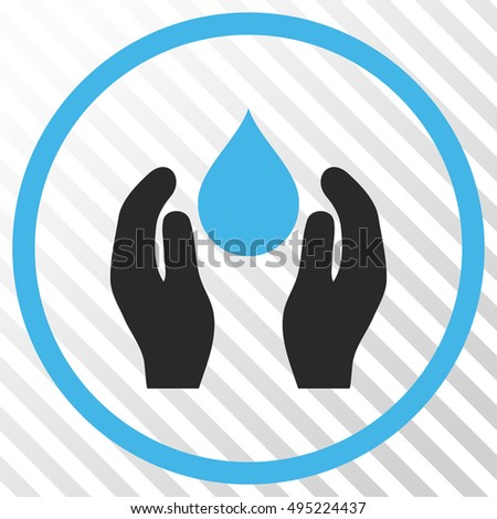 Water Care vector icon. Image style is a flat blue and gray iconic symbol on a hatch diagonal transparent background.
