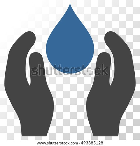 Water Care vector icon. Image style is a flat cobalt and gray pictogram symbol.