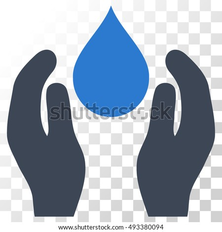 Water Care vector icon. Image style is a flat smooth blue pictograph symbol.