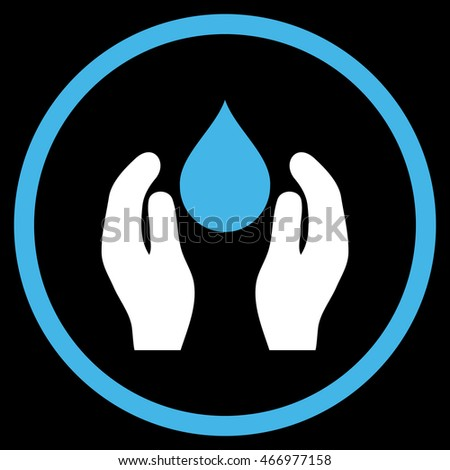 Water Care vector icon. Style is bicolor flat rounded iconic symbol, water care icon is drawn with blue and white colors on a black background.