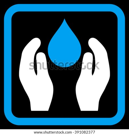 Water Care vector icon. Style is bicolor flat symbol in a rounded square frame, blue and white colors, black background.