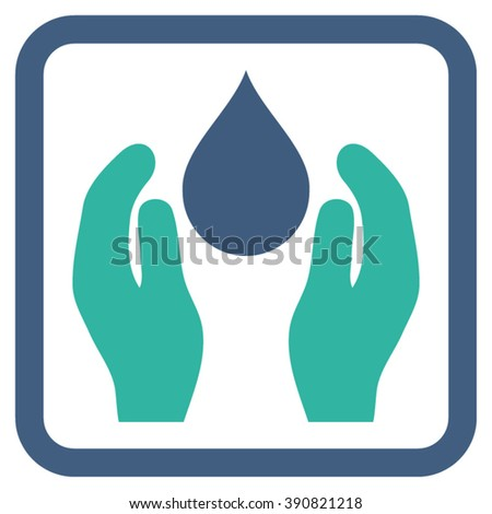 Water Care vector icon. Style is bicolor flat symbol in a rounded square frame, cobalt and cyan colors, white background.