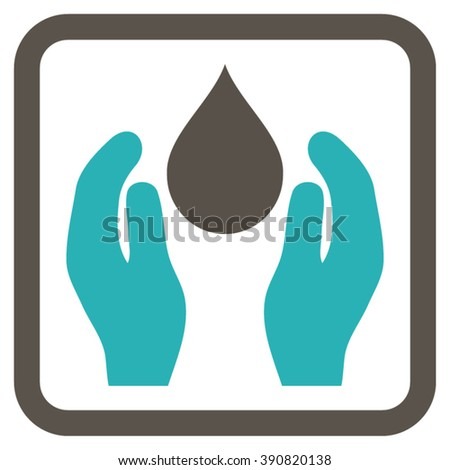Water Care vector icon. Style is bicolor flat symbol in a rounded square frame, grey and cyan colors, white background.