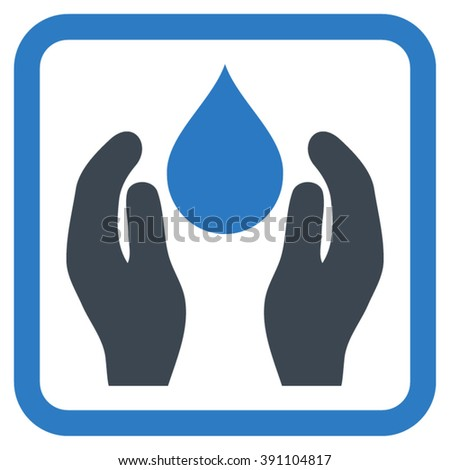 Water Care vector icon. Style is bicolor flat symbol in a rounded square frame, smooth blue colors, white background.