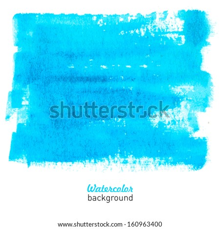Water-color light blue background with hand-drawn stain. Vector illustration. - stock vector