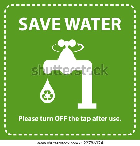Water conservation concept. Turn off the tap to save water. - stock vector