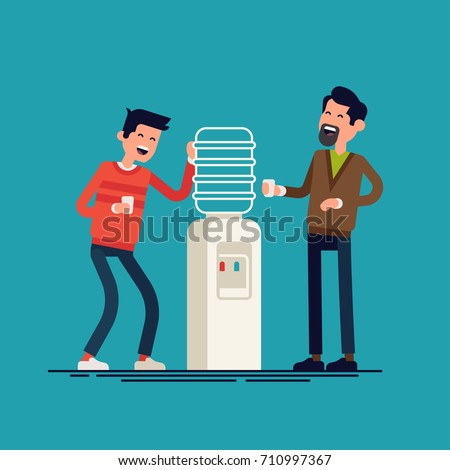Water cooler gossip concept illustration. Cool vector flat character design on two men talking to each other near office water cooler