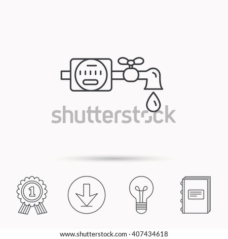 Water counter icon. Pipe with water drop sign. Download arrow, lamp, learn book and award medal icons.