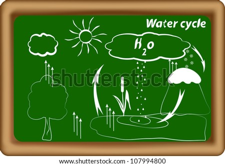 water cycle. hydrological cycle. H2O cycle. Vector - stock vector