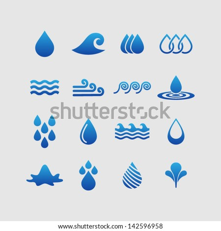 Water design elements - stock vector
