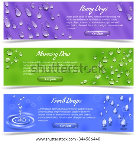 Water dew and falling drops horizontal banner set isolated vector illustration - stock vector