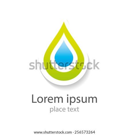 Water drop abstract vector logo design template. Water drop blue. Creative shape Aqua concept icon. Clear bio eco idea. Ecology technology. - stock vector