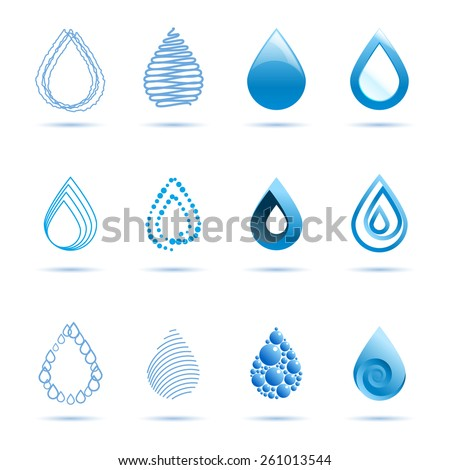 Water drop abstract vector logo design template. Waterdrop blue 3d. Volume and flat icons drops. EPS 10 - stock vector