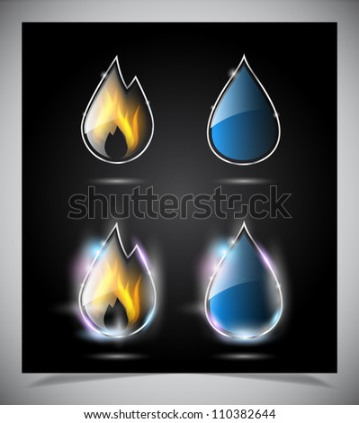 Water drop and fire icons. Vector illustration eps10 - stock vector