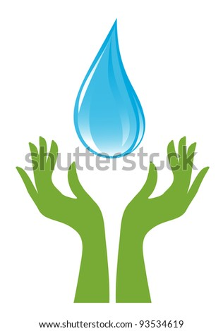Water-drop and green hands