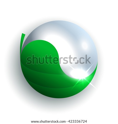 Water drop and green leaf isolated on white background. Nature elements formed Yin yang shape. Vector illustration ecology, nature balance concept. Design element. Yin yang symbol from leaf and water. - stock vector