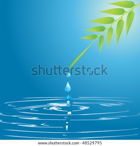 water drop and leaf - stock vector