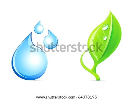 Water drop and plant icons. - stock vector