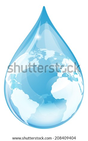 Water drop earth globe environmental concept. An illustration of a water drop with a globe inside.  - stock vector