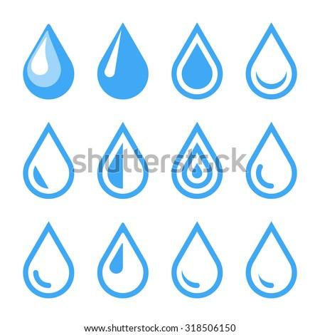 Water Drop Emblem. Logo Template. Icon Set. Vector. - stock vector
