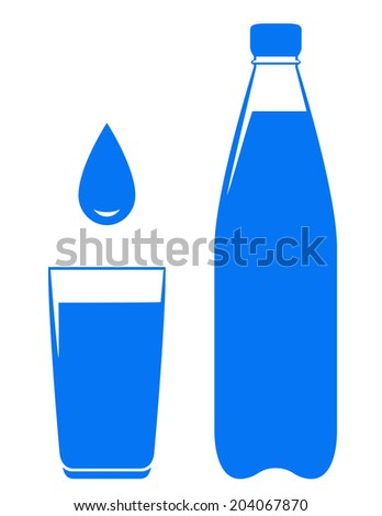 water drop falling in glass with bottle on white background - stock vector