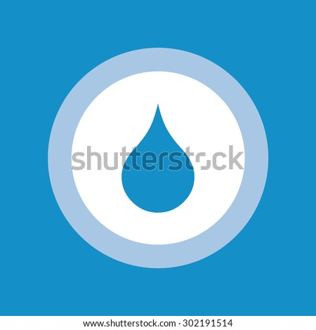 Water drop flat icon in circle - stock vector