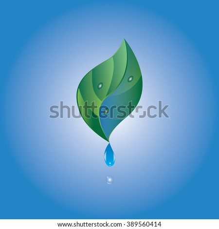 water drop green leaf blue background vector isolated abstract illustration