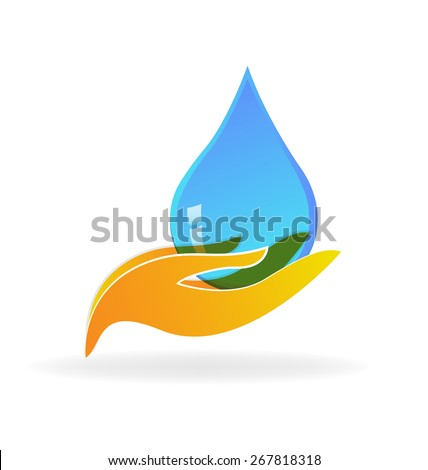 Water drop hand care concept of preserving logo vector design - stock vector