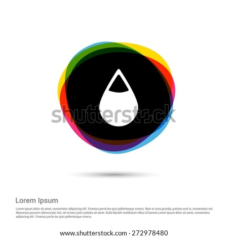water drop icon. Blood Icon, White pictogram icon creative circle Multicolor background. Vector illustration. Flat icon design style - stock vector