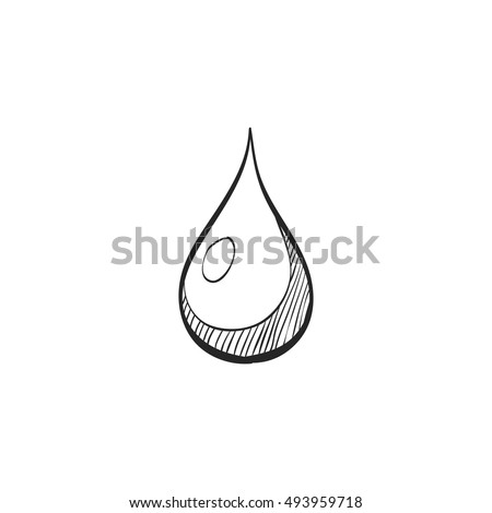 Water drop icon in doodle sketch lines. Nature ecology environment