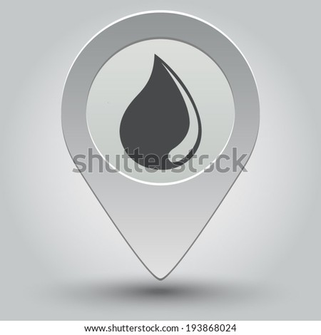 Water drop icon - vector map pointer with shadow on light background - stock vector