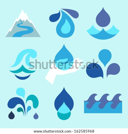 Water drop icons and design elements. - stock vector