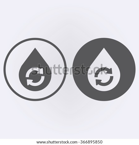 Water Drop Recycle Icon set in circle. Vector illustration - stock vector