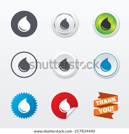 Water drop sign icon. Tear symbol. Circle concept buttons. Metal edging. Star and label sticker. Vector - stock vector