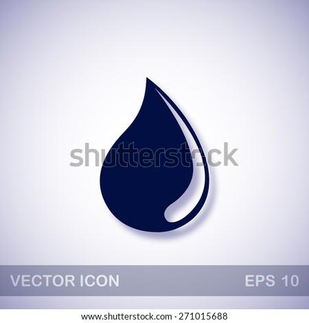 Water drop vector icon - dark blue illustration with blue shadow - stock vector