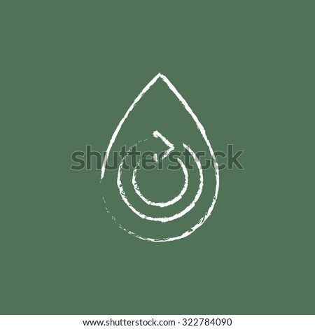 Water drop with circular arrow hand drawn in chalk on a blackboard vector white icon isolated on a green background. - stock vector