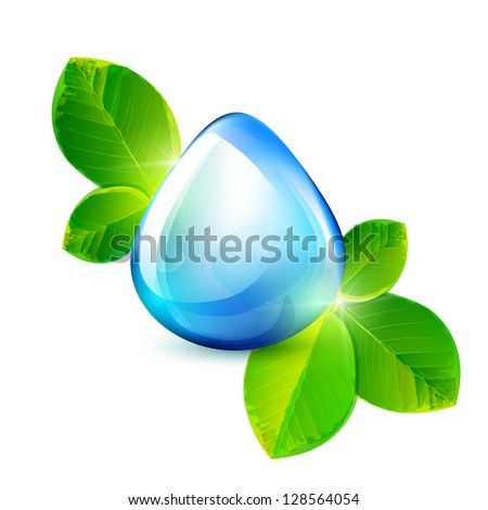 Water drop with green leaves. Ecology vector illustration. Part of set. - stock vector