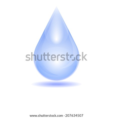 Water drop with shadow on the clean background/vector illustration
