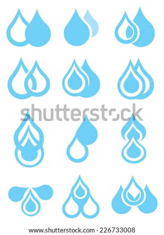 Water droplet vector graphic design in blue and white. Icon set isolated on white background - stock vector